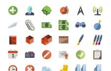 一组暖色调扁平化(Flat Design)风格PNG图标,一共136枚,推荐下载!