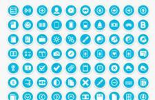 200枚蓝色圆形图标,PSD分层