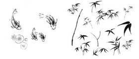 水墨风格荷花、鱼、竹子PS笔刷