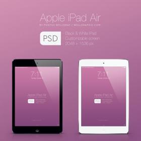 ipad air黑色、白色模型,矢量PSD分层