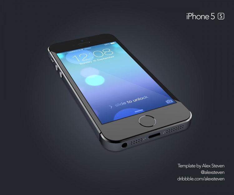 黑色iphone 5s透视效果
