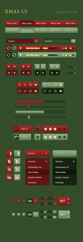 圣诞节元素UI主题包,矢量PSD