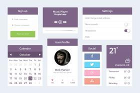 淡雅风格紫色UI主题包,矢量PSD素材
