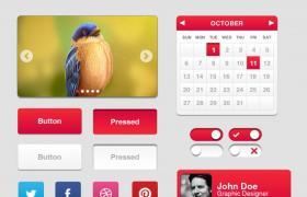 玫红色UI主题包,PSD矢量素材