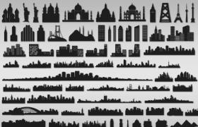 78枚城市标志性建筑轮廓,PS自定形状