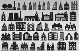 57枚建筑物,PS矢量自定形状