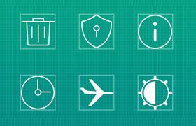 线条风格手机常用图标,PSD矢量素材