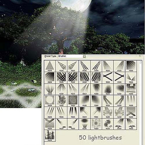 阳光照射光芒Photoshop笔刷