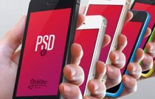 高清手拿iPhone 5C手机模型PSD素材