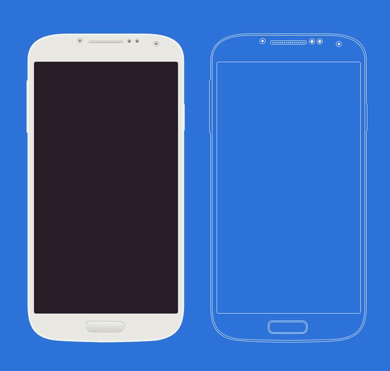 三星 Galaxy 概念线框手机模型PSD源文件