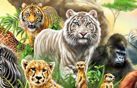 森林动物海报手绘版,PSD分层