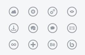 300枚线性圆形图标,PSD源文件
