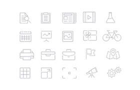 100枚简洁线性图标,AI+PNG源文件
