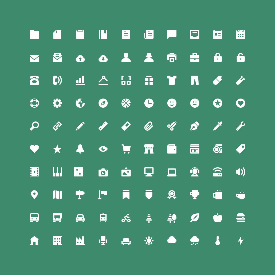100枚纯色填充图标,多格式PSD源文件