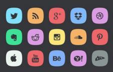 45枚圆角社交媒体图标,PSD源文件