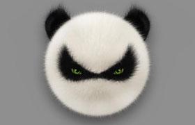 PS教程:绘制毛绒熊猫