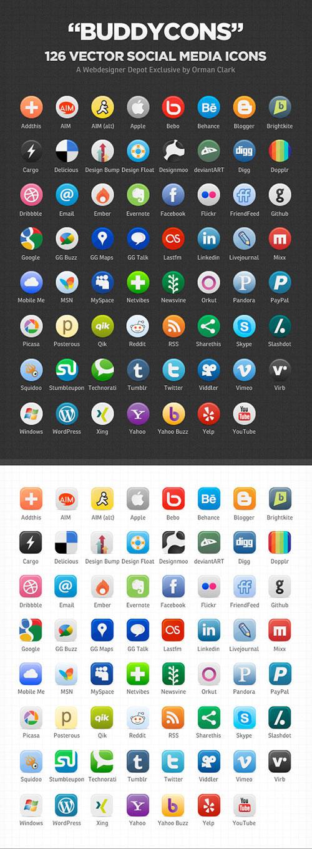 126枚圆形和方形社交媒体图标,PNG AI源文件