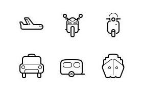15枚线性交通工具图标,PSD AI源文件