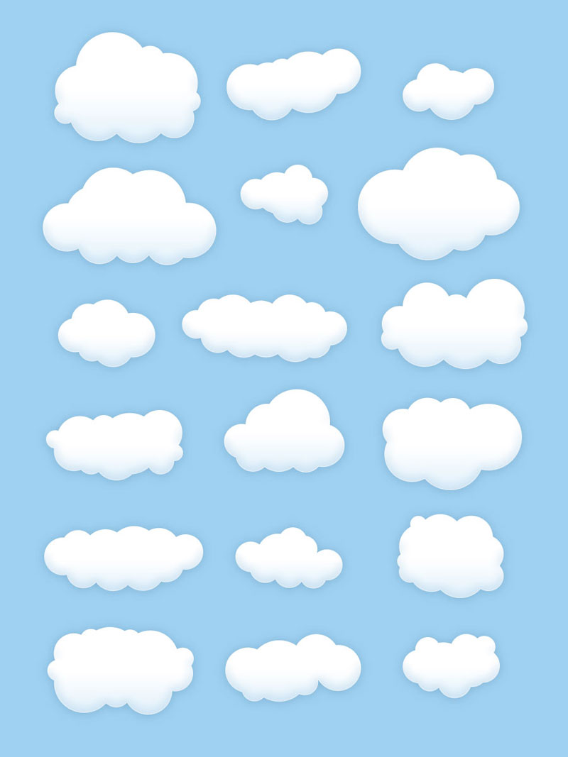 卡通云朵素材,PSD源文件