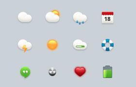 16枚精致天气图标,PSD源文件