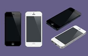 8种角度iPhone5 iPhone5S 高清图,PSD格式免费下载