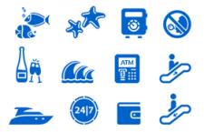 160枚扁平化旅行旅游元素矢量图标,AI源文件