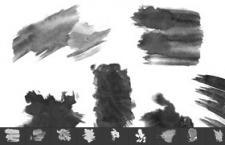 高清水墨油漆痕迹印迹,PS笔刷