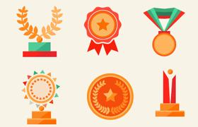 15枚扁平化风格 奖杯 奖牌,AI源文件