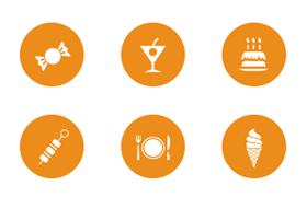 50枚圆形餐饮图标,PSD源文件