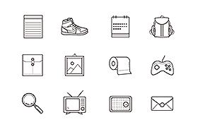 一组很酷的线稿图标,PSD AI源文件
