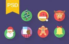 16枚扁平化圣诞节图标,PSD源文件