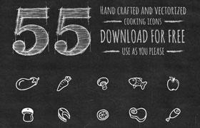 55枚手绘食物图标,AI源文件