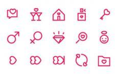 48枚情人节风格线性图标,AI源文件