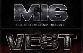 7款3D纹理字体特效,PSD源文件