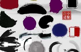 中国风水墨笔触设计素材合集,PSD格式