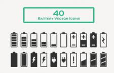 40枚电池图标,AI源文件