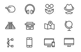 100枚常用线型图标,PSD AI源文件