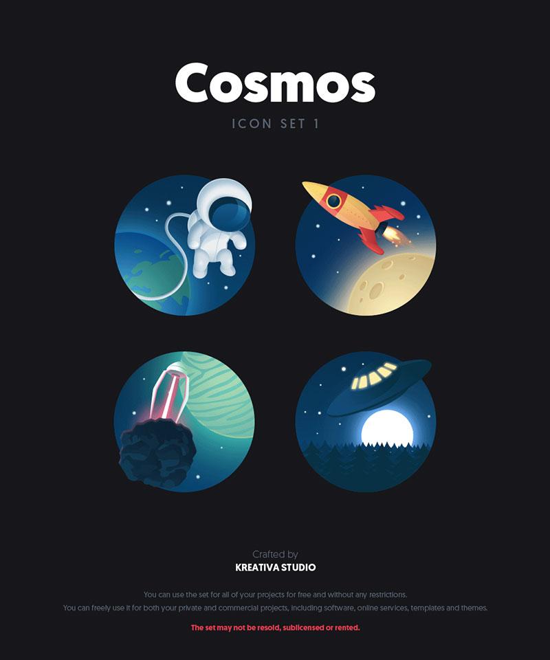 扁平化太空元素卡通,PSD源文件