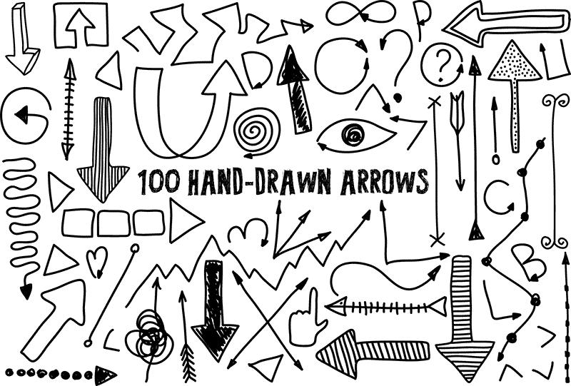 100款手绘箭头矢量素材,AI源文件
