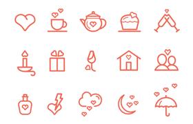 40枚情人节相关图标,AI PSD源文件
