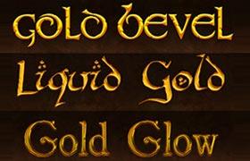 5款黄金字体样式,PSD源文件