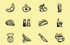 36枚素描风美食图标,AI PSD源文件