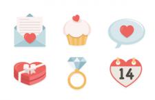 6枚扁平化情人节图标,AI源文件