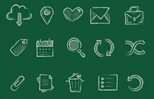 25枚手绘粉笔效果图标,PNG格式