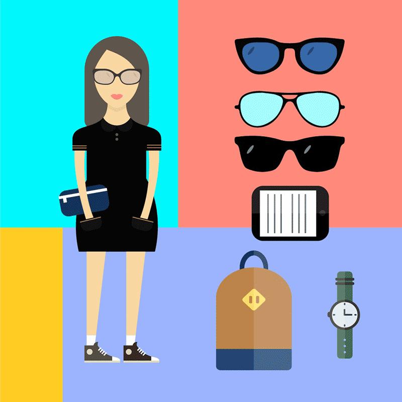 扁平化人物时尚潮女配件,AI源文件