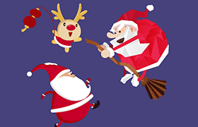 扁平化圣诞老人 麋鹿卡通形象,PSD源文件