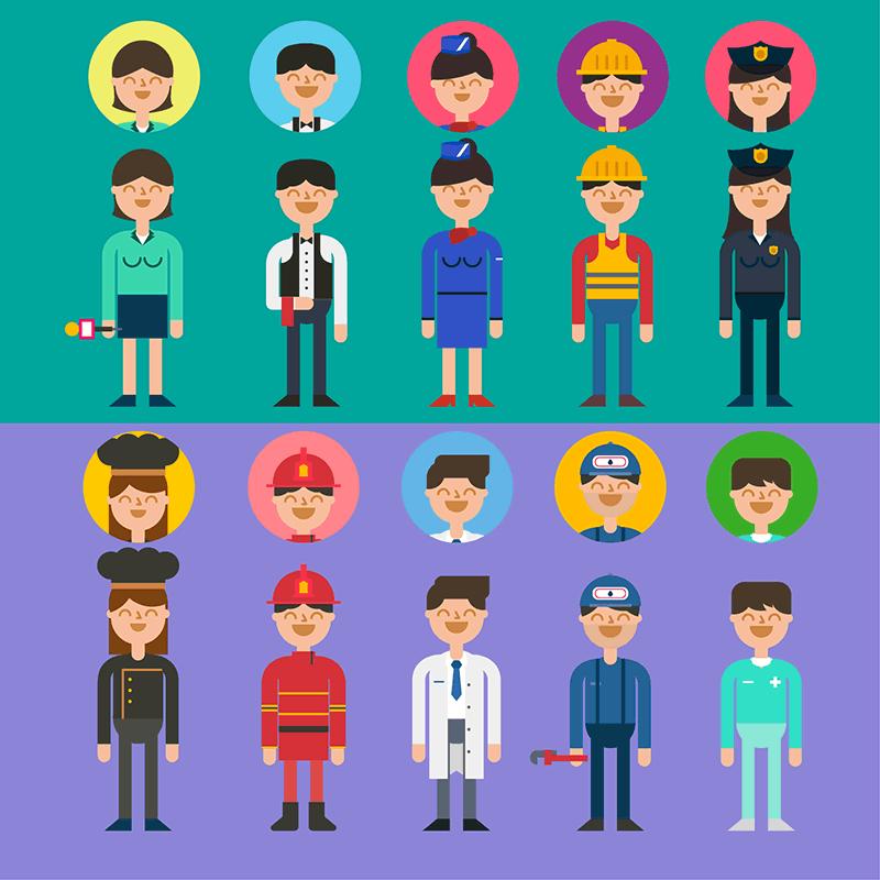 职业装扁平化卡通人物,AI源文件