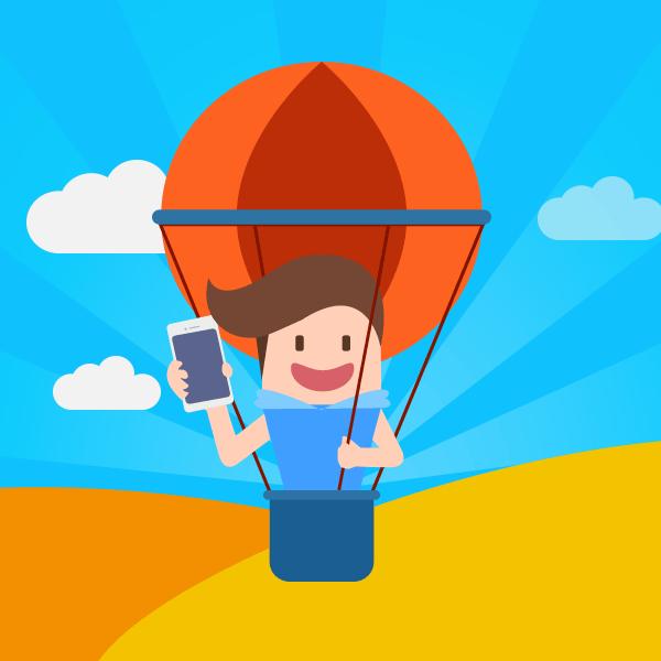 热气球上手持手机卡通形象,PSD源文件