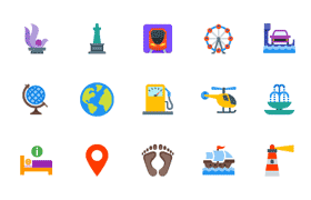 150枚扁平化旅游类图标,AI源文件