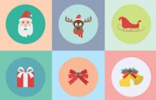 20枚扁平化风格圣诞节图标,AI源文件